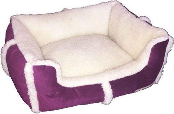 Лежак Gaffy Pet Sherpa, цвет: бордовый, 55 х 45 х 23 см11263MЛежак Gaffy Pet Sherpa с отделкой под овчину. Уютная, очень стильная ручная работа.