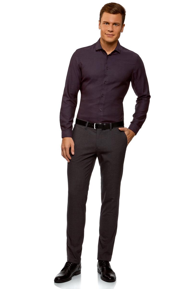 Рубашка мужская oodji Lab, цвет: темно-фиолетовый, черный. 3L110281M/47382N/8829O. Размер 40-182 (48-182)3L110281M/47382N/8829O