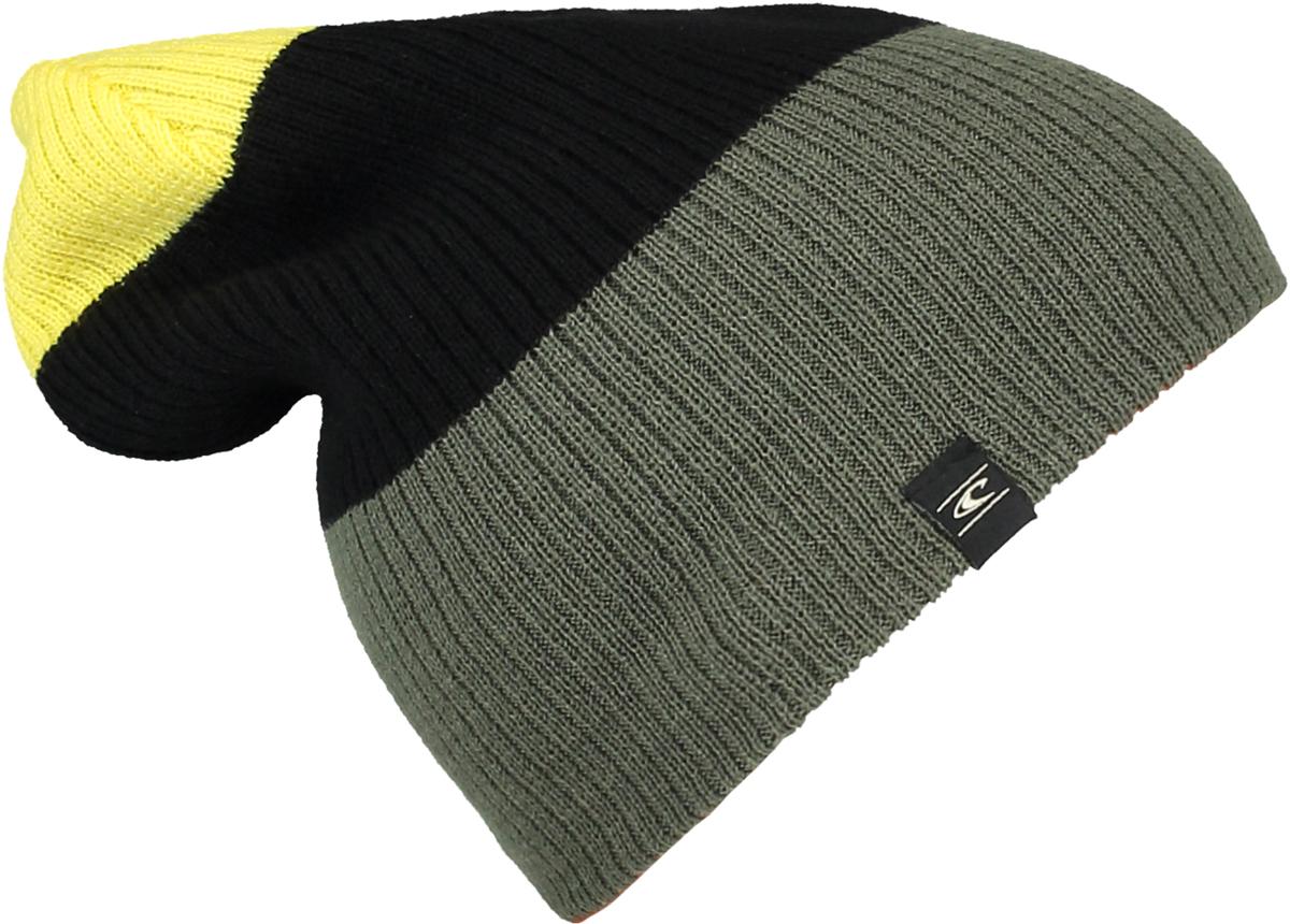 Шапка мужская ONeill Bm Reversible Block Beanie, цвет: хаки, желтый, черный. 7P4127-6048. Размер универсальный7P4127-6048
