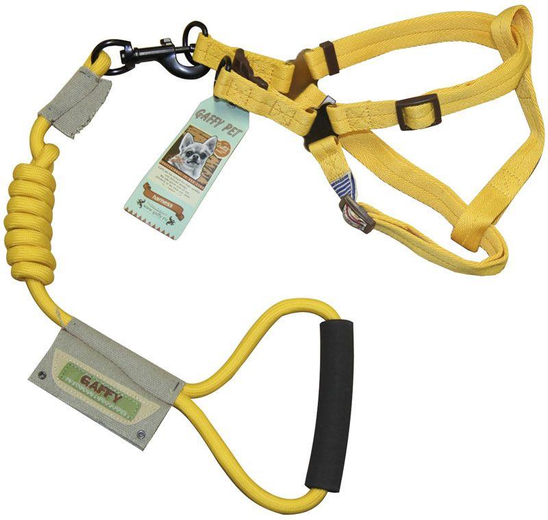 Шлейка для собак Gaffy Pet  Round , с поводком, цвет: желтый. Размер М - Товары для прогулки и дрессировки (амуниция)