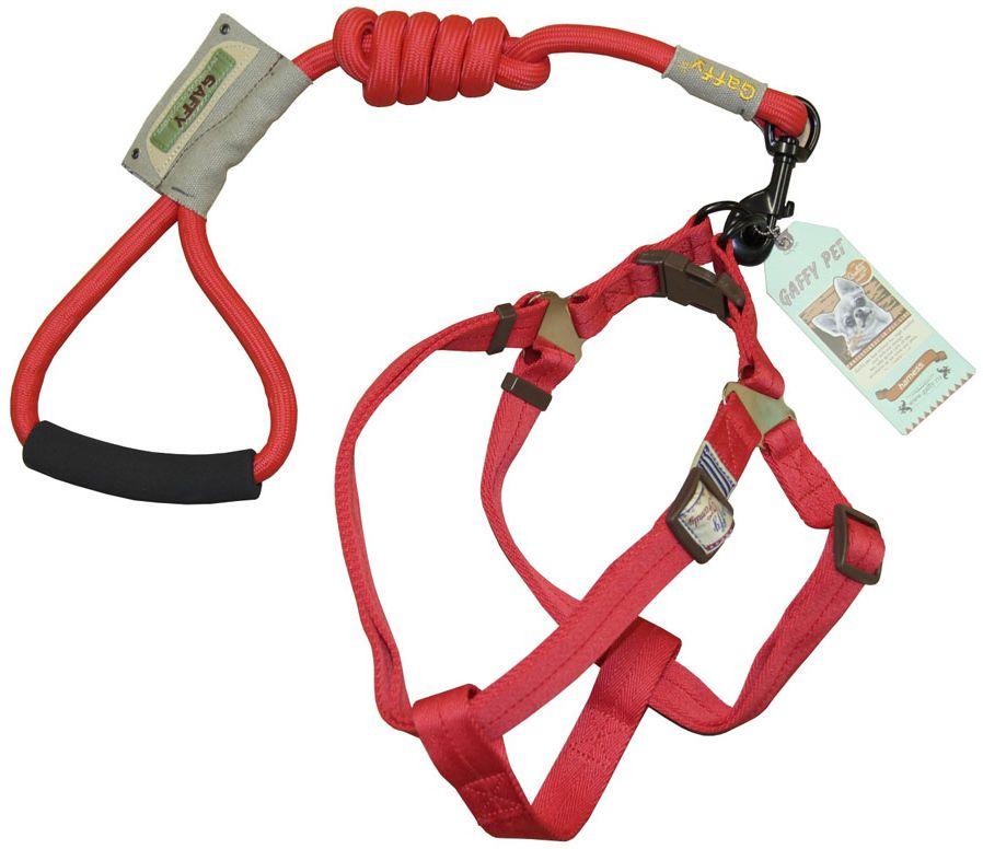 Шлейка для собак Gaffy Pet  Round , с поводком, цвет: красный. Размер М - Товары для прогулки и дрессировки (амуниция)