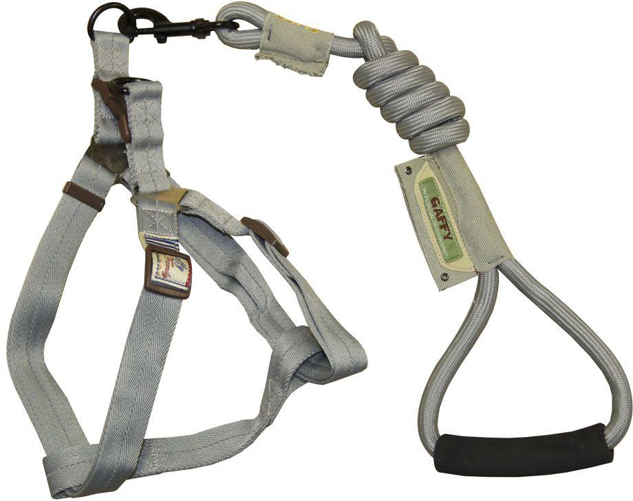 Шлейка для собак Gaffy Pet  Round , с поводком, цвет: серый. Размер L - Товары для прогулки и дрессировки (амуниция)