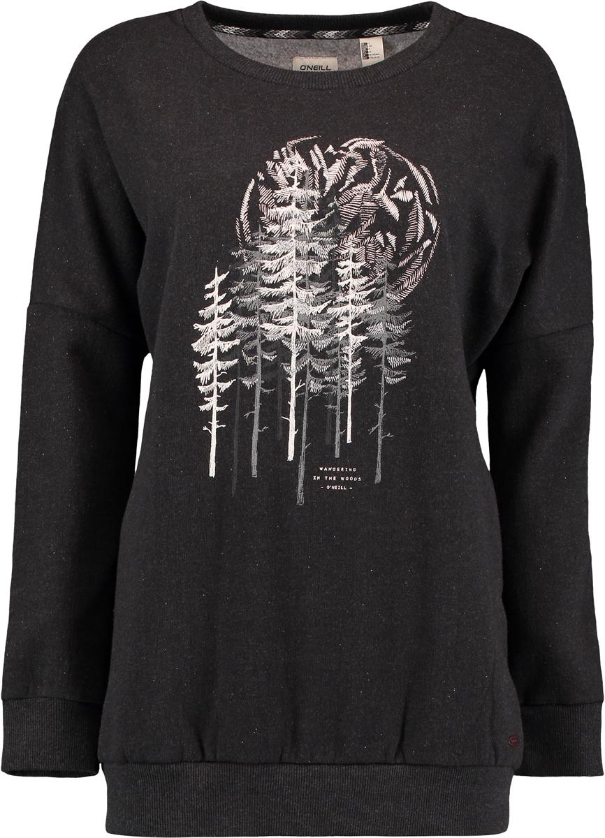 Свитшот женский ONeill Lw Peaceful Pines Sweatshirt, цвет: черный. 7P6405-9010. Размер S (44/46)7P6405-9010Женский свитшот от ONeill выполнен из высококачественного хлопкового трикотажа. Модель с длинными рукавами и круглым вырезом горловины спереди оформлена принтом. Манжеты рукавов и низ изделия дополнены широкой трикотажной резинкой.