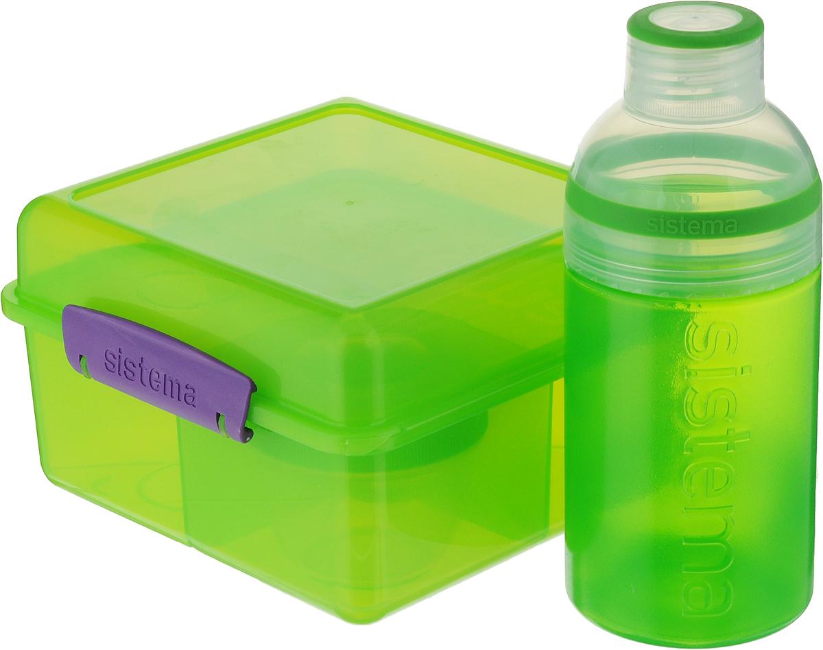 Набор Sistema Lunch: ланчбокс 2 л, контейнер 150 мл, бутылка 480 мл, цвет: зеленый. 4158041580_зеленыйНабор Sistema Lunch, выполненный из высококачественного пластика, состоит из ланчбокса,контейнера и бутылки. Ланчбокс представляет собой контейнер универсальногоназначения. Он имеет четыре секции, предназначенные для хранения и переноски различныхпродуктов. Контейнер предназначен для хранения соусов, он плотно закрывается крышкой. Длякомпактной переноски его можно поставить в секцию ланчбокса. Бутылка для воды изготовлена из прочного пищевого пластика без содержания фенола и другихвредных примесей. Бутылка имеет удобную крышку, которая предотвращает выливаниежидкости. С такой бутылкой вы сможете где угодно насладиться вашими любимыми напитками.Благодаря компактным размерам и относительно большой вместимости отличноподойдет для людей, чья жизнь проходит в постоянном движении. Кроме того, вам больше непридется носить с собой сразу несколько контейнеров.Объем ланчбокса: 2 л. Объем контейнера: 150 мл. Объем бутылки: 480 мл. Размер ланчбокса: 17 х 17 х 10 см. Размер контейнера: 7 х 7 х 6,5 см. Размер бутылки: 7,5 х 7,5 х 18 см.