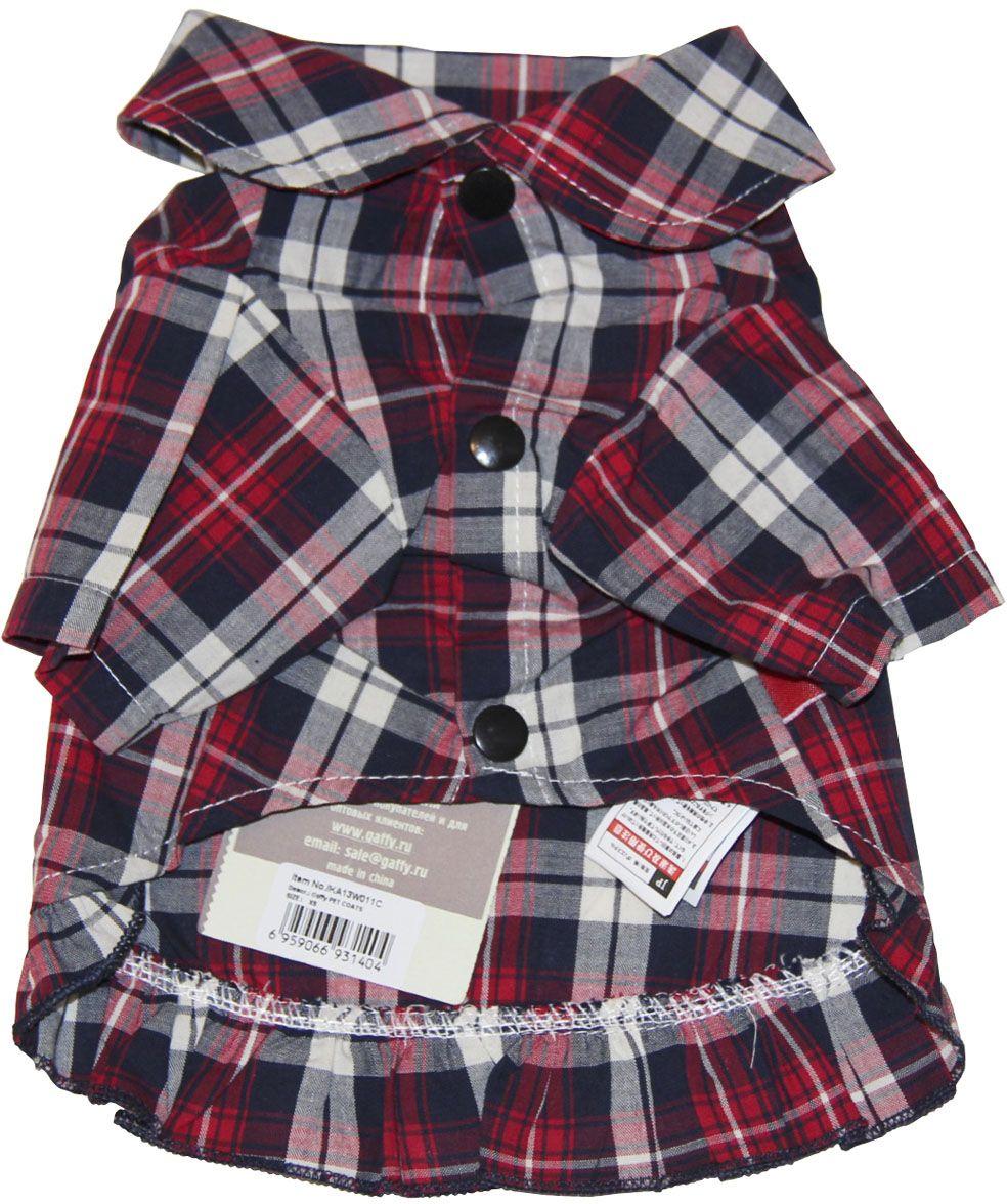 Рубашка для собак Gaffy Pet Cute Plaid. Размер L11022 LМилая рубашка в актуальную красную клетку.Декорирована небольшой юбочкой. Для маленьких модниц.Прекрасный вариант для улицы, для дома и как основа под любую одежду.Фиксируется на животе кнопками. Материал кнопок: металл.Идеально сочетается с курткой теплой Khaki print. Но и с другими моделями прекрасно комбинируется.Обхват шеи, см: 36.Обхват груди, см: 55.Длина спины, см: 40.