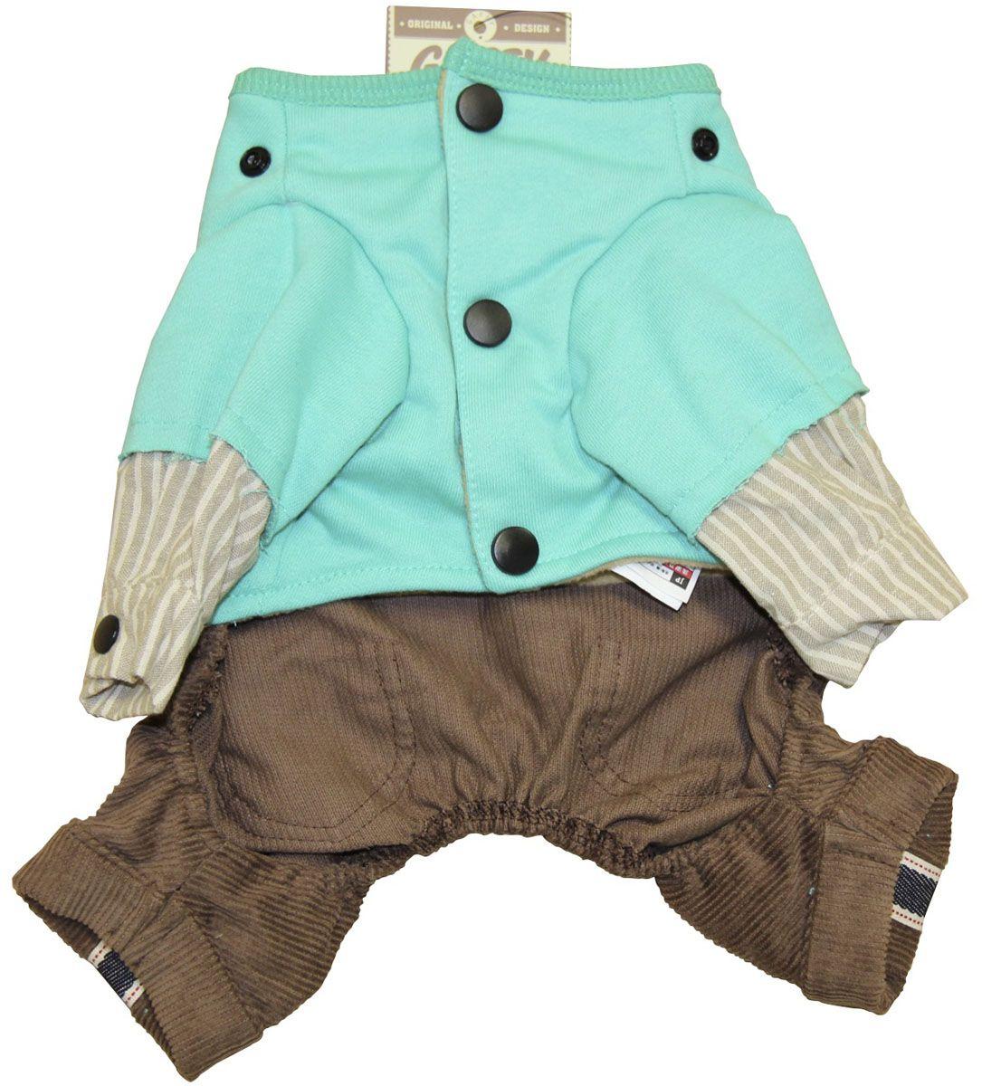 Костюм для собак Gaffy Pet U.S. Navy. Размер S11005 SВыполнен в морском стиле. Актуальное сочетание цветов и фактур. Модная полоска в дизайне рубашки. Стильный рисунок, тематика посвящена ВМФ США.Рукава можно подвернуть и зафиксировать кнопками. Тщательно продуманный дизайн. Цельный костюм состоит из 3х частей: коричневые джинсы, серая рубашка в полоску, зеленая толстовка.Фиксируется на животе кнопками. Материал кнопок: металлОбхват шеи, см: 21.Обхват груди, см: 40.Длина спины, см: 26.