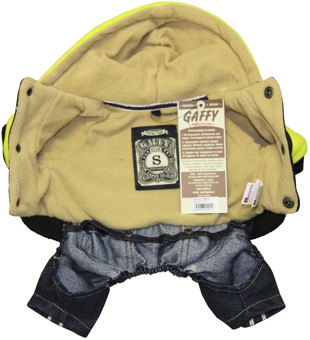 Костюм для собак Gaffy Pet Vintage Store. Размер L11003 LАктуальное сочетание цветов и фактур. Стильный рисунок в винтажном стиле.Толстовка двух цветов дополнена синимии джинсами с вельветовыми карманами.Тщательно продуманный дизайн. Цельный костюм состоит из 2х частей: темно-синие джинсы, толстовка черная с салатовыми рукавами и капюшоном.Фиксируется на животе кнопками. Материал кнопок: металл.Обхват шеи, см: 30.Обхват груди, см: 50.Длина спины, см: 34.