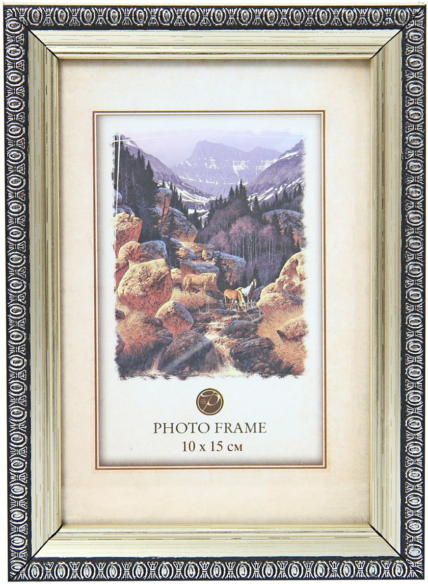Фоторамка Pioneer Кружево, цвет: серебристый, 10 х 15 см