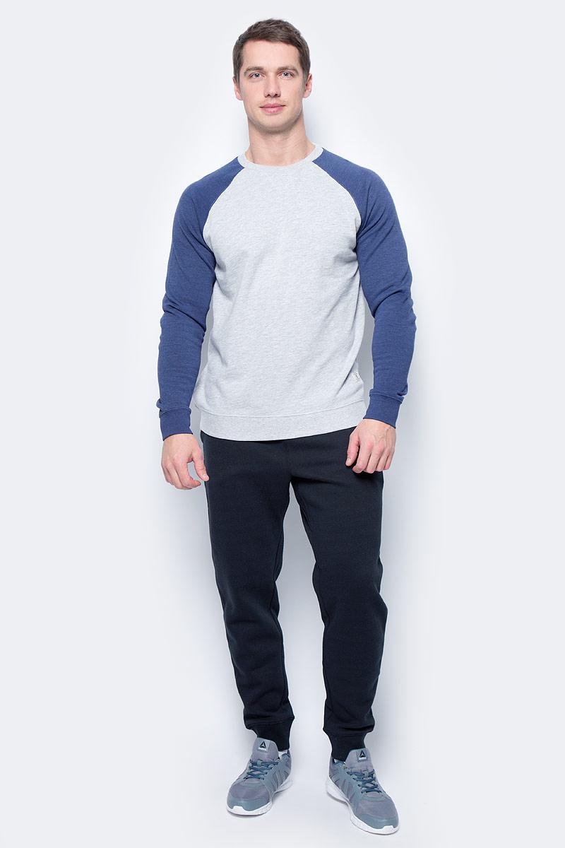 Толстовка мужская DC Shoes, цвет: серый, синий. EDYFT03185-XSSB. Размер M (48/50)EDYFT03185-XSSBМужская толстовка DC Shoes выполнена из флиса с начесом. Модель имеет комфортный классический крой, длинные рукава реглан контрастного цвета и круглый вырез горловины. Манжеты рукавов, горловина и низ толстовки дополнены эластичным материалом в рубчик.