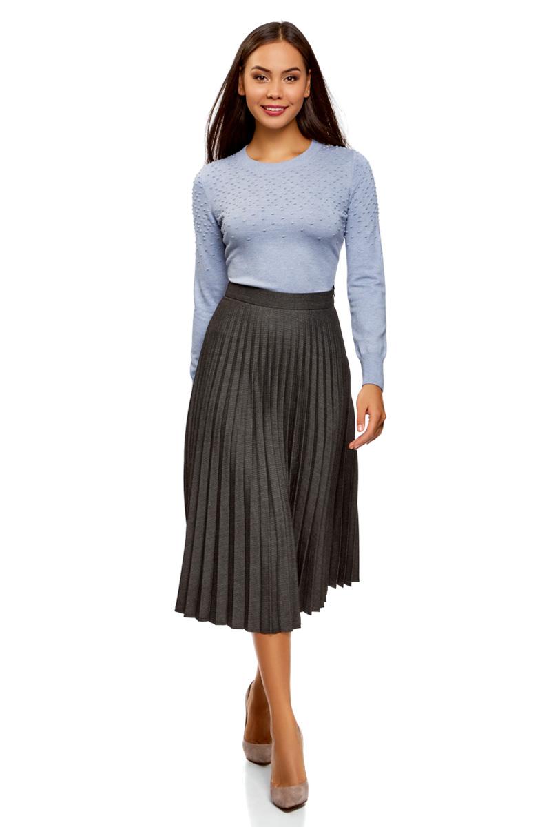 Юбка женская oodji Collection, цвет: темно-серый, светло-серый. 21606020-5/46109/2520S. Размер 36-170 (42-170)21606020-5/46109/2520S