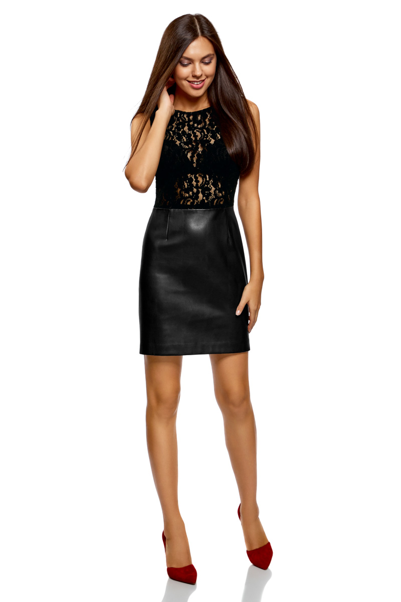Платье oodji Ultra, цвет: черный. 18L12003-1/45901/2900N. Размер 34-170 (40-170)18L12003-1/45901/2900NКомбинированное платье от oodji выполнено из высококачественного материала. Верх выполнен из гипюра, низ – из искусственной кожи. Модель без рукавов и с круглым вырезом горловины на спине застегивается на потайную молнию.