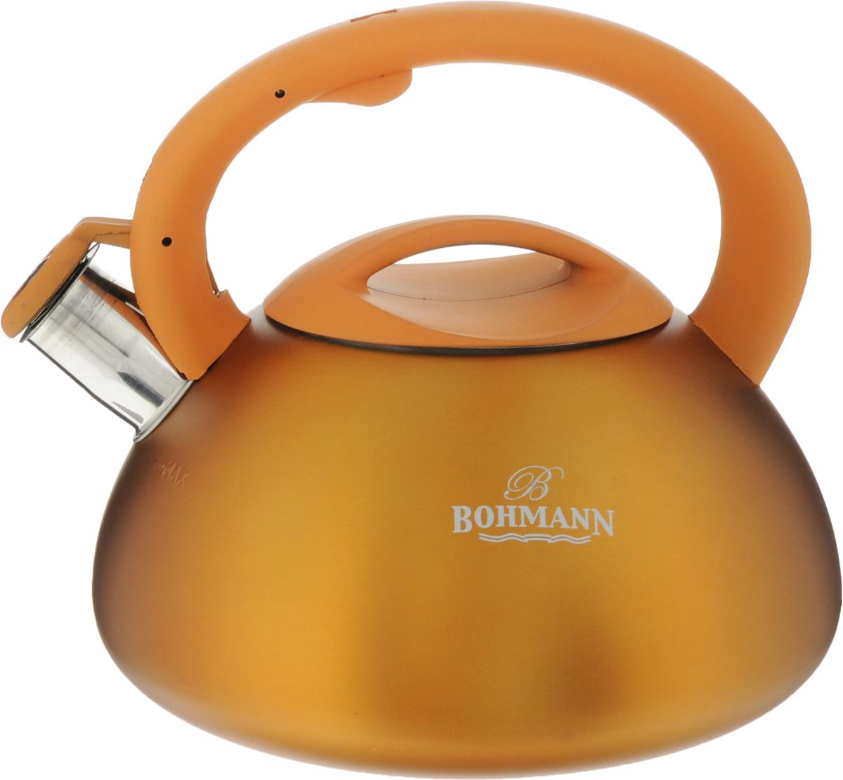 Чайник Bohmann, со свистком, цвет: оранжевый, 3 л. BH-9957BH-9957_оранжевыйЧайник Bohmann выполнен из высококачественной нержавеющей стали, что делает его весьма гигиеничным и устойчивым к износу при длительном использовании. Носик чайника оснащен насадкой-свистком, что позволит вам контролировать процесс подогрева или кипячения воды. Чайник снабжен стальной крышкой и эргономичной ручкой из пластика с резиновым покрытием.Эстетичный и функциональный чайник будет оригинально смотреться в любом интерьере.Подходит для всех типов плит, кроме индукционных. Можно мыть в посудомоечной машине. Высота чайника (с учетом ручки и крышки): 20 см.Диаметр чайника (по верхнему краю): 11 см.Диаметр индукционного дна: 16 см.