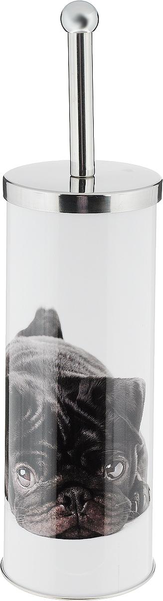 Ершик для унитаза Axentia, с подставкой, цвет: белый, черный ершик для унитаза art