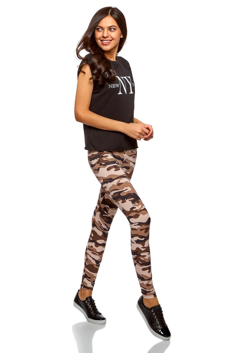 Леггинсы женские oodji Ultra, цвет: темно-коричневый, бежевый. 18700028-7/46159/3933O. Размер M (46)18700028-7/46159/3933O