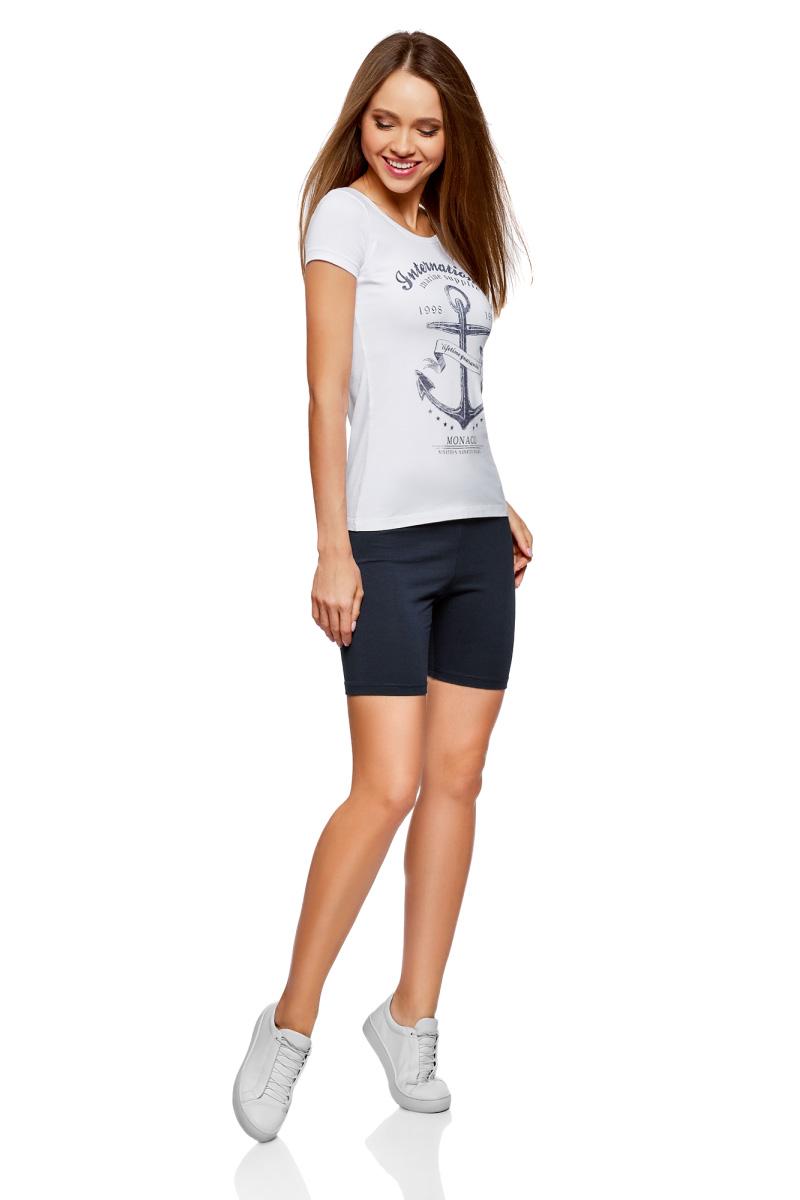 Шорты женские oodji Ultra, цвет: темно-синий. 17000023B/46159/7900N. Размер XS (42)17000023B/46159/7900NБазовые шорты от oodji выполнены из эластичного хлопкового трикотажа. Модель с эластичной резинкой на талии.
