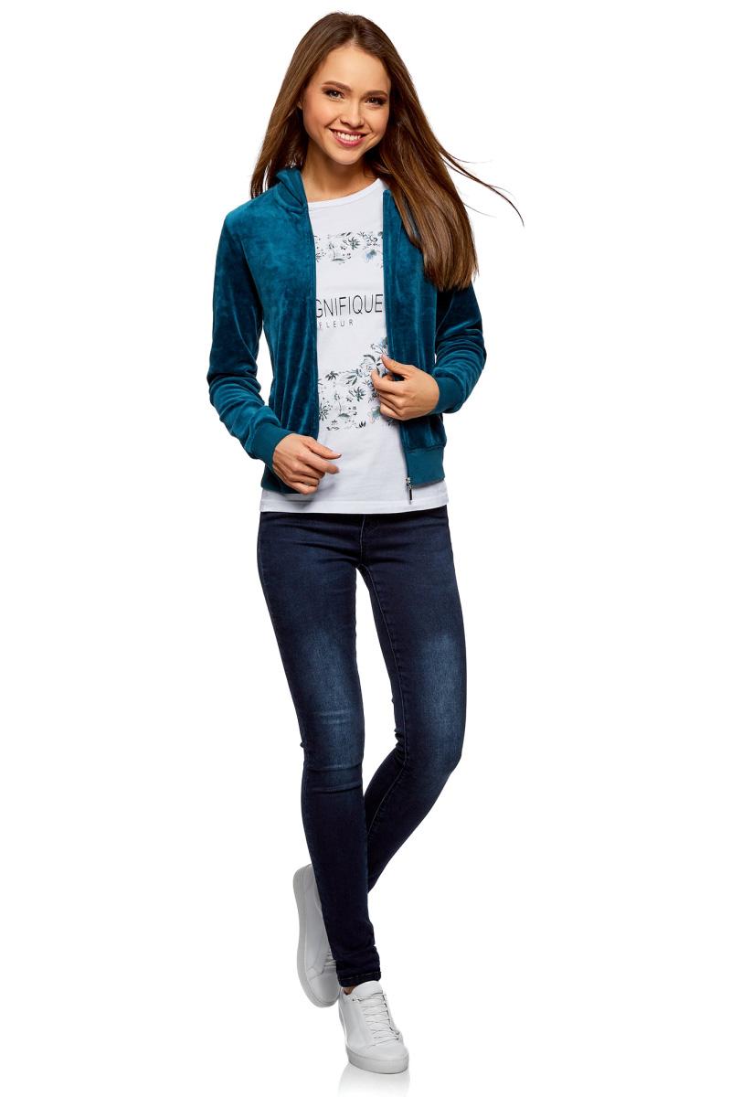 Толстовка женская oodji Ultra, цвет: сине-зеленый. 16901082B/47883/7504N. Размер S (44) толстовка сине гранатового цвета