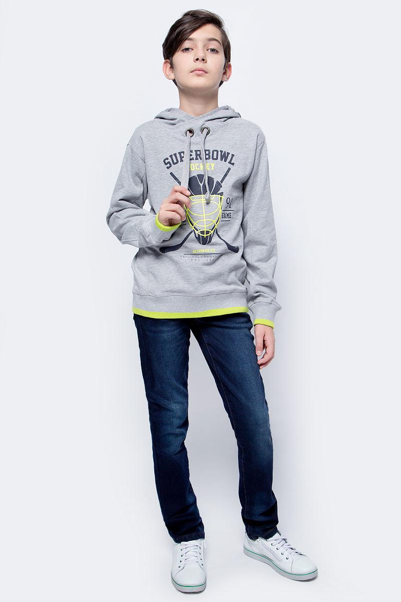 Толстовка для мальчика Sela, цвет: серый. St-813/059-7330. Размер 146St-813/059-7330Толстовка для мальчика от Sela выполнена из высококачественного хлопкового трикотажа. Модель свободного кроя с длинными рукавами и капюшоном со шнурком спереди оформлена принтом.
