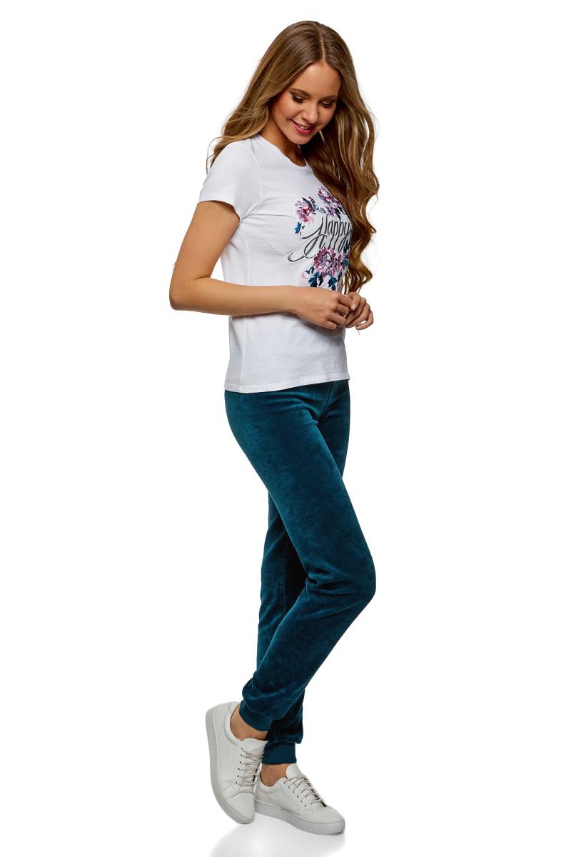 Брюки спортивные женские oodji Ultra, цвет: сине-зеленый. 16701051B/47883/7500N. Размер S (44)16701051B/47883/7500NЖенские спортивные брюки oodji изготовлены из качественной смесовой ткани. Модель выполнена с широким эластичным поясом на талии и с завязками. Низы брючин дополнены широкими манжетами.