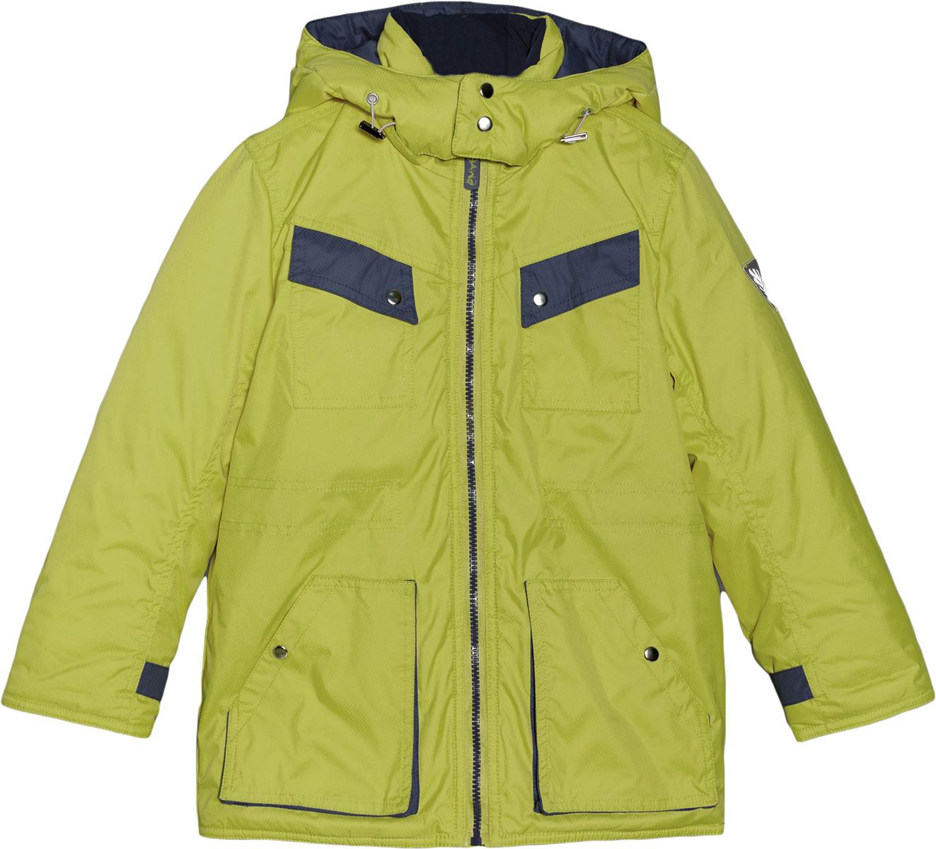 Куртка для мальчика Ёмаё, цвет: желто-зеленый. 39-125. Размер 9239-125Теплая куртка для мальчика Ёмаё идеально подойдет для вашего ребенка в холодное время года. Модель изготовлена из ветрозащитного и водоотталкивающего материала - 100% полиэстера. В качестве основной подкладки используется теплый мягкий флис, а утеплителя - 100% полиэстер. Удлиненная куртка с капюшоном и воротником-стойкой застегивается на пластиковую застежку-молнию и дополнительно имеет внутреннюю ветрозащитную планку, а также защиту подбородка. Капюшон, присборенный по краю на скрытую резинку со стопперами, пристегивается с помощью молнии и дополнительно застегивается клапаном под подбородком на металлические кнопки. Низ рукавов дополнен скрытыми эластичными манжетами, а также хлястиками на кнопках, с помощью которых можно регулировать обхват рукавов. Спереди предусмотрены четыре накладных кармана, два из которых нагрудные с клапанами на кнопках. На талии имеется скрытая резинка со стопперами.