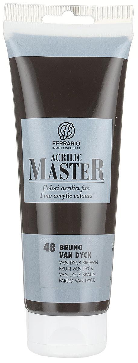 Ferrario Краска акриловая Acrilic Master цвет №48 коричневый Ван Дик BM0978B0048BM0978B0048Акриловые краски серии ACRILIC MASTER итальянской компании Ferrario. Универсальны в применении, так как хорошо ложатся на любую обезжиренную поверхность: бумага, холст, картон, дерево, керамика, пластик. При изготовлении красок используются высококачественные пигменты мелкого помола. Краска быстро сохнет, обладает отличной укрывистостью и насыщенностью цвета. Работы, сделанные с помощью ACRILIC MASTER, не тускнеют и не выгорают на солнце. Все цвета отлично смешиваются между собой и при необходимости разбавляются водой. Для достижения необходимых эффектов применяют различные медиумы для акриловой живописи. В серии представлено 50 цветов.