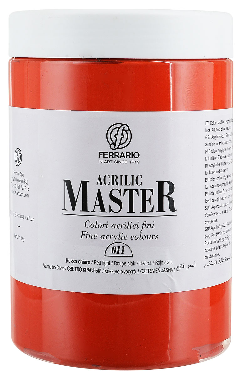 Ferrario Краска акриловая Acrilic Master цвет №11 светло-красный BM0979E011BM0979E011Акриловые краски серии ACRILIC MASTER итальянской компании Ferrario. Универсальны в применении, так как хорошо ложатся на любую обезжиренную поверхность: бумага, холст, картон, дерево, керамика, пластик. При изготовлении красок используются высококачественные пигменты мелкого помола. Краска быстро сохнет, обладает отличной укрывистостью и насыщенностью цвета. Работы, сделанные с помощью ACRILIC MASTER, не тускнеют и не выгорают на солнце. Все цвета отлично смешиваются между собой и при необходимости разбавляются водой. Для достижения необходимых эффектов применяют различные медиумы для акриловой живописи. В серии представлено 50 цветов.