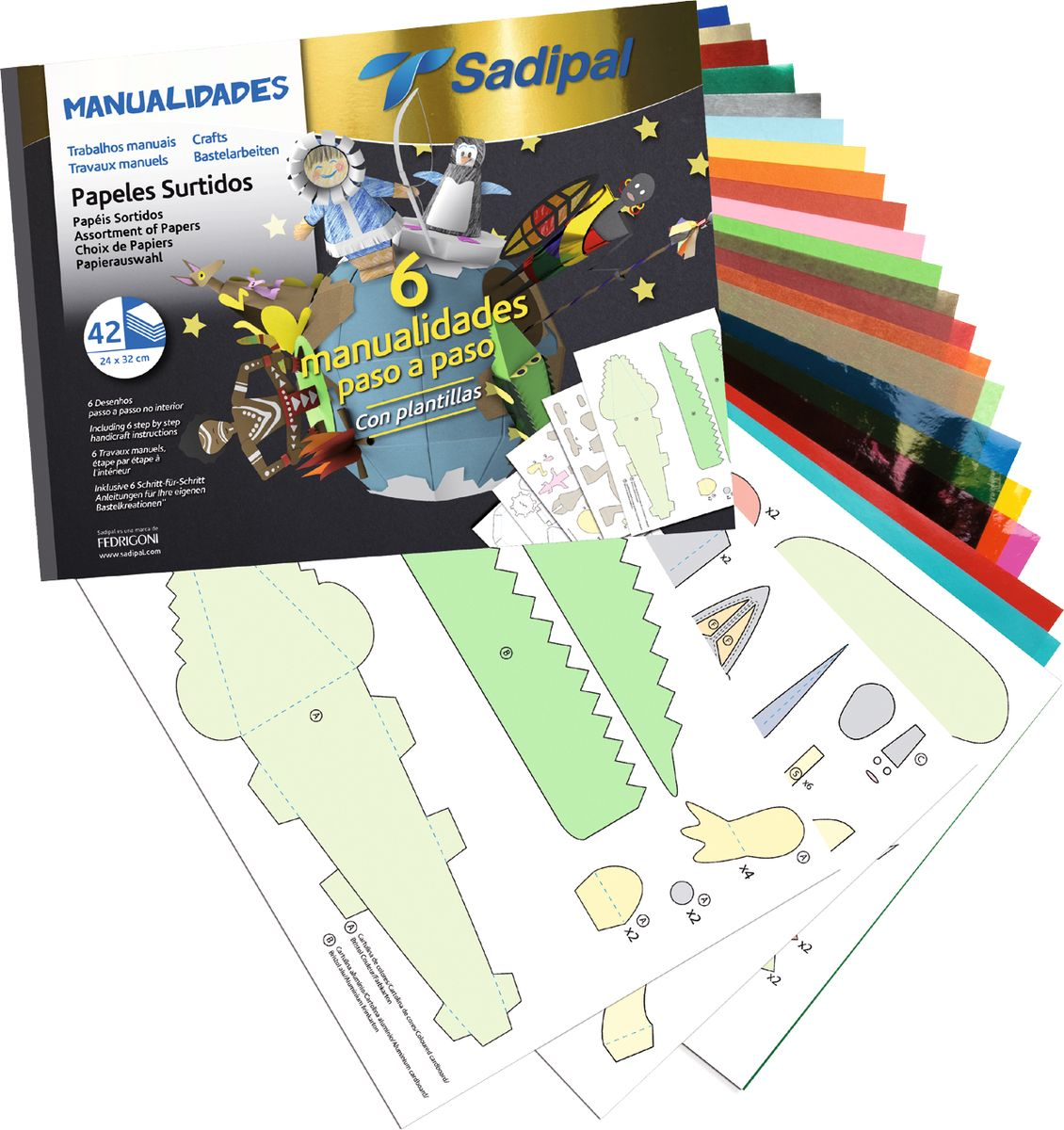 Sadipal Набор цветной бумаги и картона 42 листа 0620006200