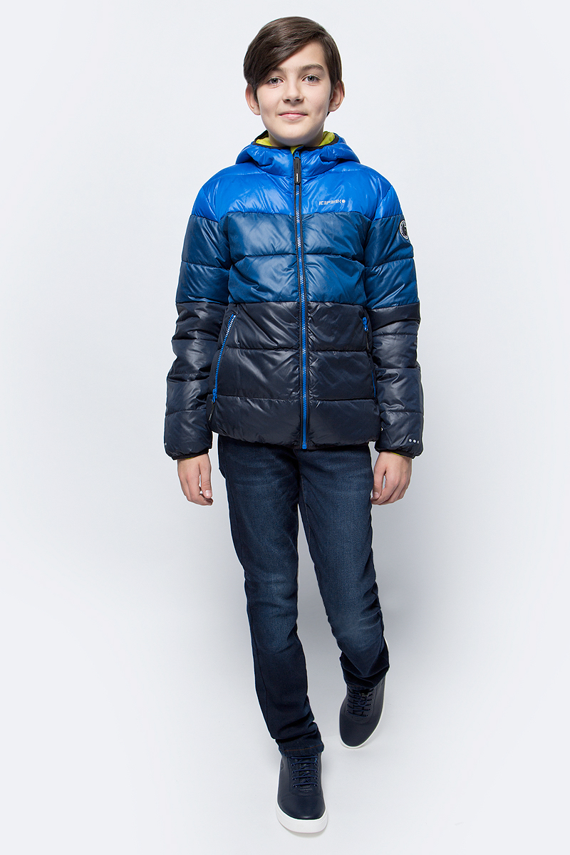 Куртка для мальчика Icepeak, цвет: синий. 850011507IV_347. Размер 152850011507IV_347Куртка для мальчика Icepeak выполнена из полиэстера. Модель с капюшоном застегивается на молнию.