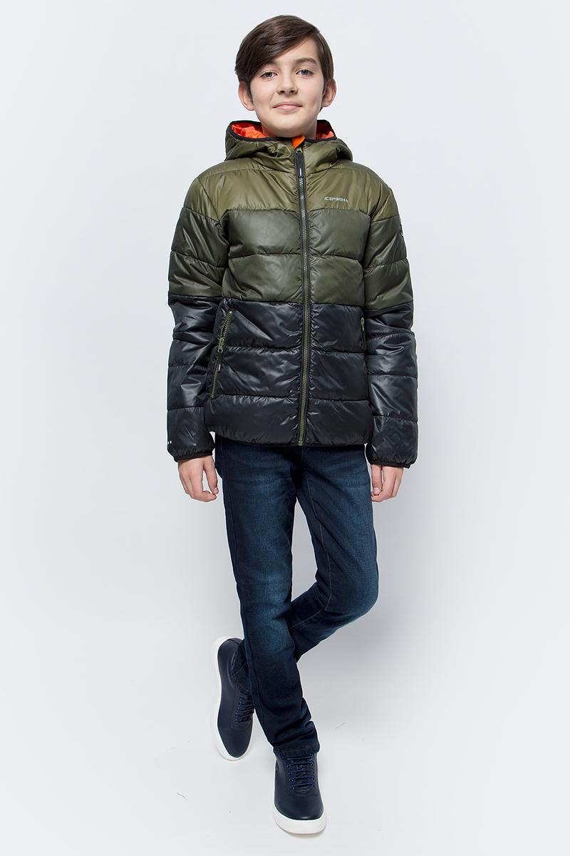 Куртка для мальчика Icepeak, цвет: оливковый. 850011507IV_572. Размер 128850011507IV_572Куртка для мальчика Icepeak выполнена из полиэстера. Модель с капюшоном застегивается на молнию.
