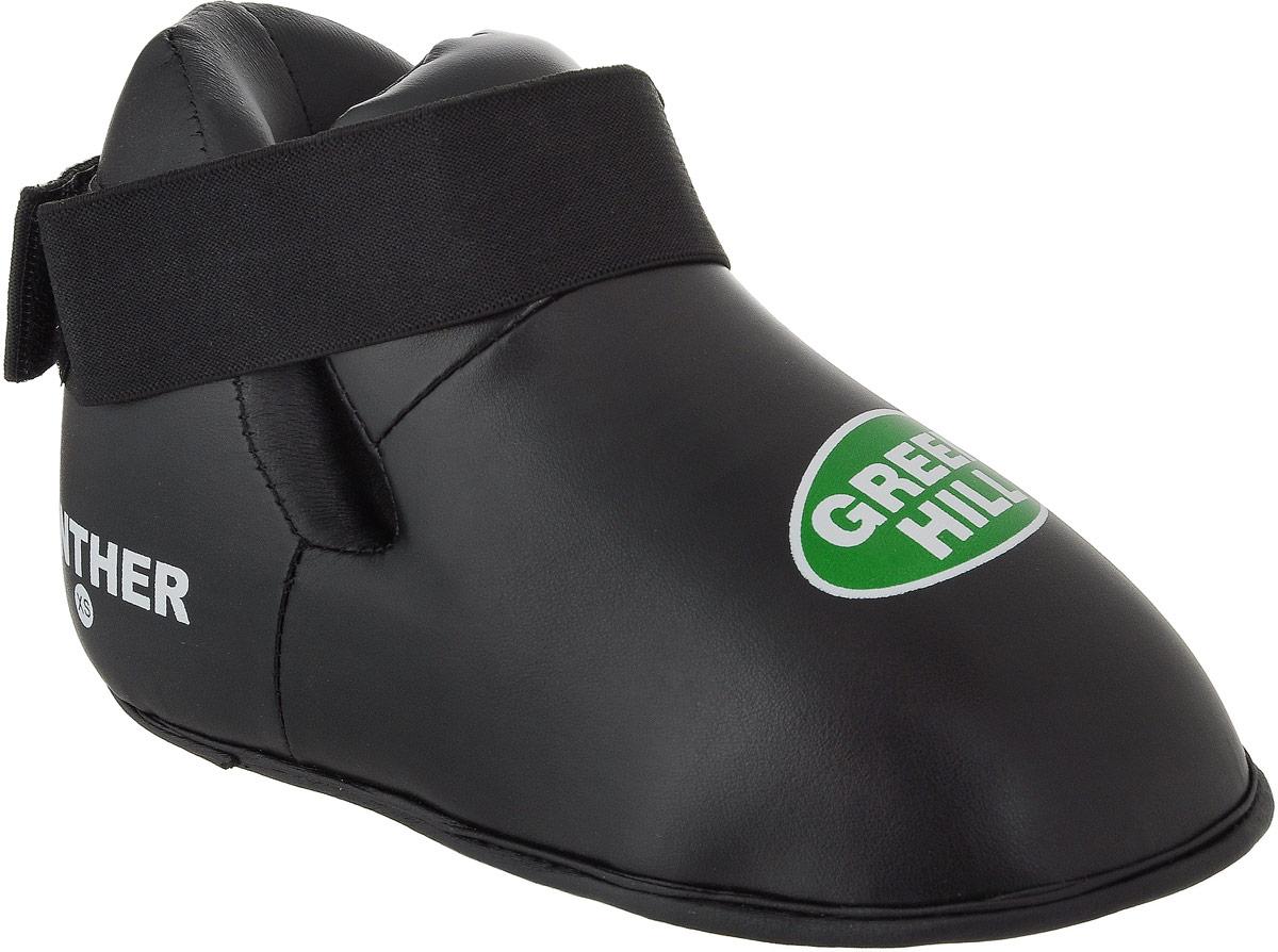 Футы Green Hill Panther, цвет: черный. KBSP-3076. Размер XSKBSP-3076Футы Green Hill Panther применяются для занятий кикбоксингом. Выполнены из высококачественной искусственной кожи, наполнитель - вспененный полимер. Резинки на липучке в задней части футов обеспечивают лучшую фиксацию ноги. Длина стопы: 24 см. Ширина: 11 см. Размер ноги должен быть меньше на 1-1,5 см.