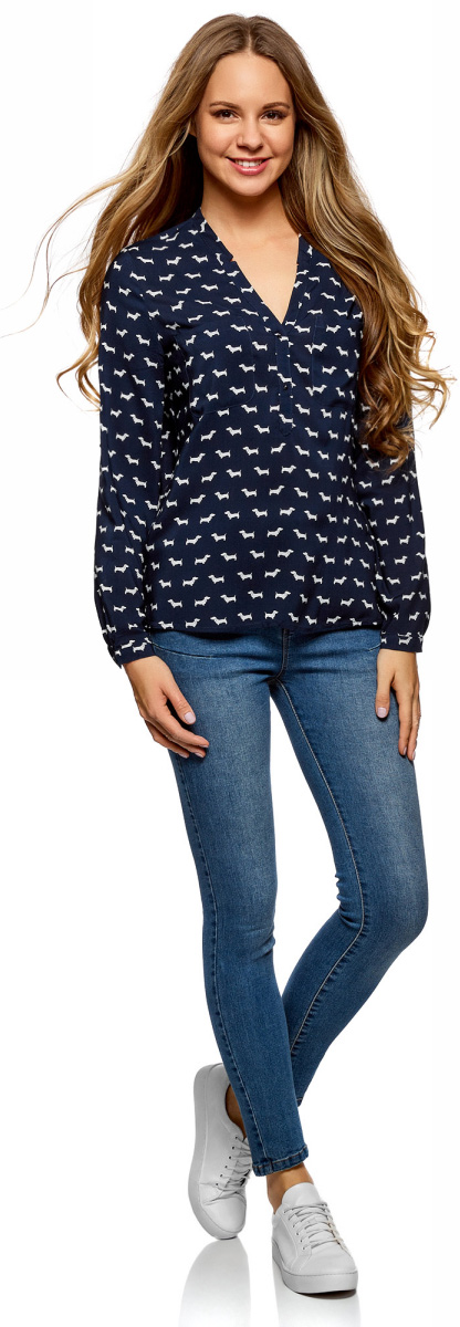 Блузка женская oodji Ultra, цвет: темно-синий, белый. 11411049-3/24681/7912A. Размер 44-170 (50-170)11411049-3/24681/7912A