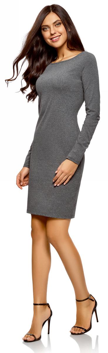 Платье oodji Ultra, цвет: черный, серый, светло-серый, 3 шт. 14001183T3/46148/19GZN. Размер L (48)14001183T3/46148/19GZNПлатье от oodji выполнено из высококачественного хлопкового трикотажа. Модель облегающего кроя с длинными рукавами и круглым вырезом горловины.В комплект входят три платья.