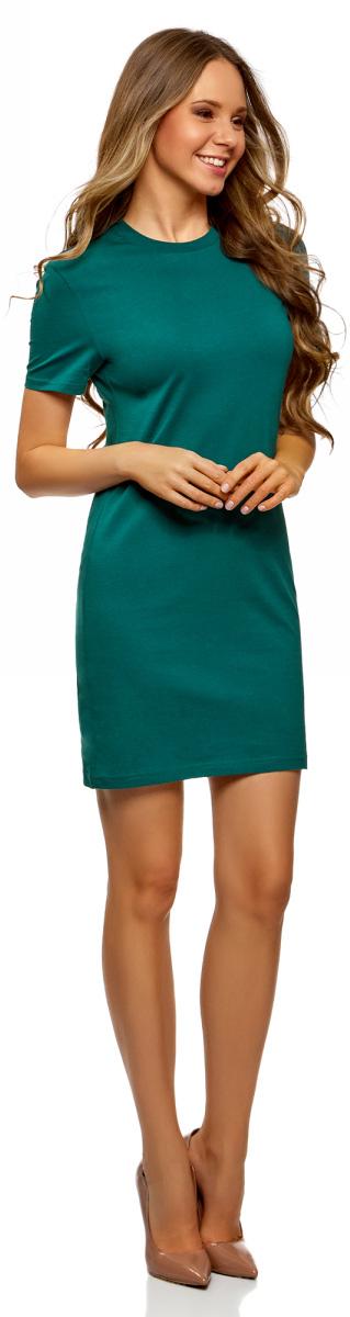 Платье oodji Ultra, цвет: темно-изумрудный. 14001194B/46154/6E00N. Размер XS (42)14001194B/46154/6E00N