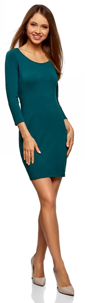 цены Платье oodji Ultra, цвет: серо-синий. 14001193B/47420/7400N. Размер M (46)