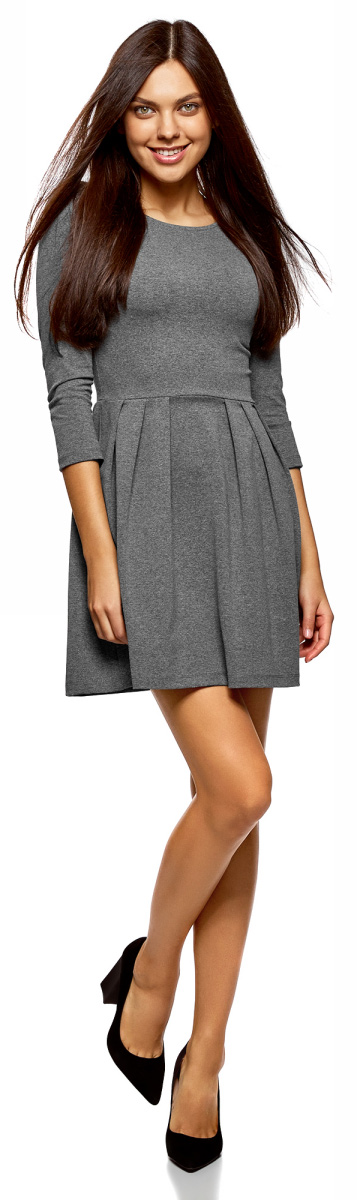 Платье oodji Ultra, цвет: темно-серый. 14011005-3B/46148/2500M. Размер XXS (40)14011005-3B/46148/2500M