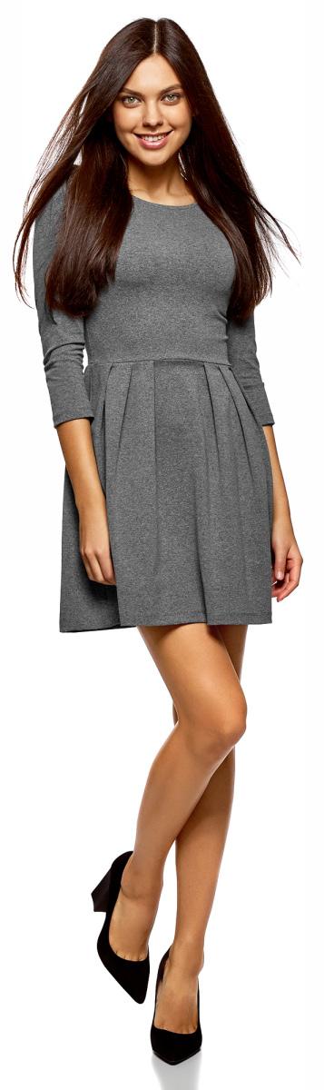 Платье oodji Ultra, цвет: темно-серый. 14011005-3B/46148/2500M. Размер L (48)14011005-3B/46148/2500M