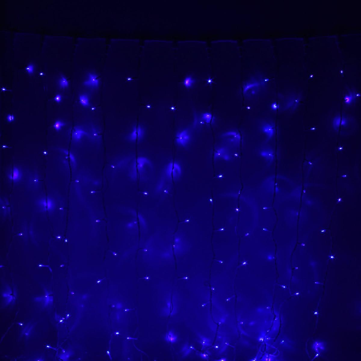 Гирлянда светодиодная Luazon Занавес, цвет: синий, уличная, 1800 ламп, 450-220 V, 2 х 9 м. 10803081080308Светодиодные гирлянды и ленты — это отличный вариант для новогоднего оформления интерьера или фасада. С их помощью помещение любого размера можно превратить в праздничный зал, а внешние элементы зданий, украшенные ими, мгновенно станут напоминать очертания сказочного дворца. Такие украшения создают ауру предвкушения чуда. Деревья, фасады, витрины, окна и арки будто специально созданы, чтобы вы украсили их светящимися нитями.