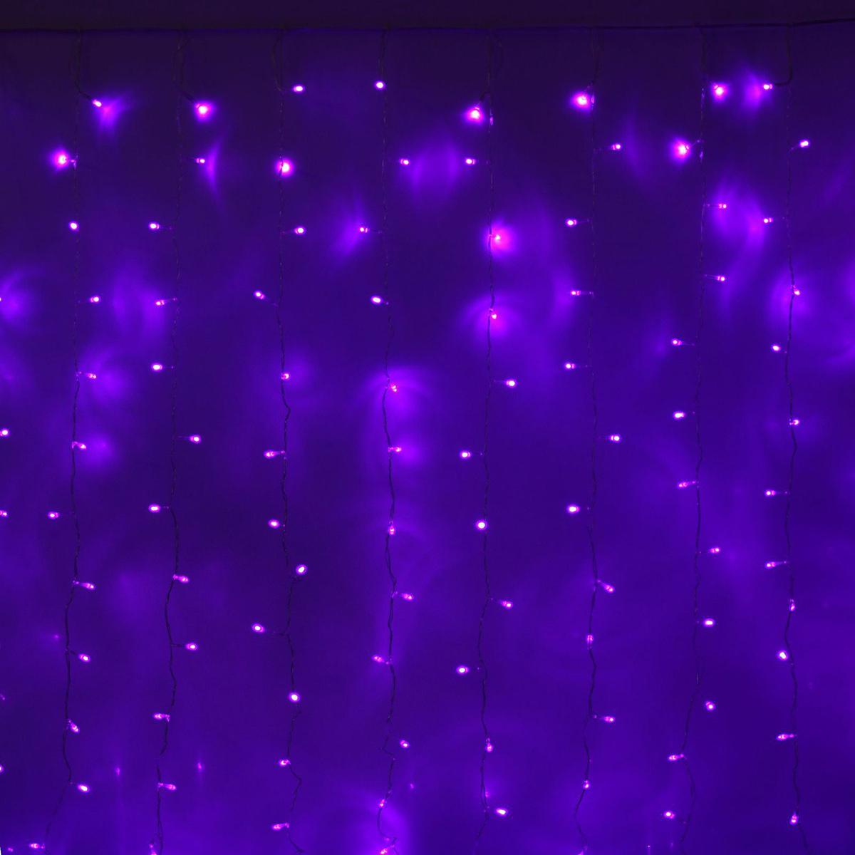 Гирлянда светодиодная Luazon Занавес, цвет: фиолетовый, 720 ламп, 8 режимов, 220 V, 2 х 3 м. 1080476 гирлянда светодиодная luazon дождь 400 ламп 8 режимов 220 v 2 х 1 5 м цвет белый 671639
