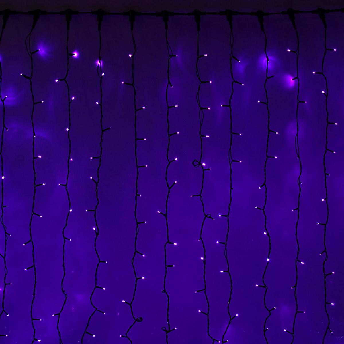 Гирлянда светодиодная Luazon Занавес, цвет: фиолетовый, уличная, 1440 ламп, 280-220 V, 2 х 6 м. 10803001080300Гирлянда светодиодная Luazon Занавес - это отличный вариант для новогоднего оформления интерьера или фасада. С ее помощью помещение любого размера можно превратить в праздничный зал, а внешние элементы зданий, украшенные гирляндой, мгновенно станут напоминать очертания сказочного дворца. Такое украшение создаст ауру предвкушения чуда. Деревья, фасады, витрины, окна и арки будто специально созданы, чтобы вы украсили их светящимися нитями.