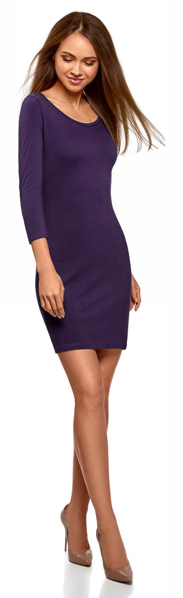 Платье oodji Ultra, цвет: темно-фиолетовый. 14001193B/47420/8800N. Размер M (46)14001193B/47420/8800NПлатье от oodji выполнено из эластичного хлопкового трикотажа. Модель облегающего кроя с рукавами 3/4 и круглым вырезом горловины на спинке оформлена вырезом-капелькой.