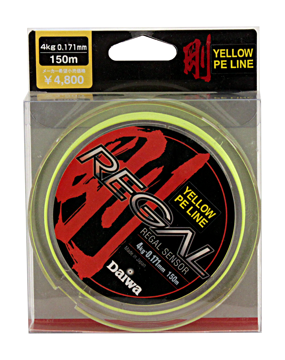Леска плетеная Daiwa Regal Sensor, цвет: желтый, 0,171 мм, 150 м0023035Леска плетеная Daiwa Regal Sensor выполнена из материала Super PE. Она менее эластичная для достижения большейчувствительности. Способность выдерживать большие разрывные нагрузки позволяет выбирать более тонкий диаметр лески, что увеличивает чувствительность и дальность заброса.