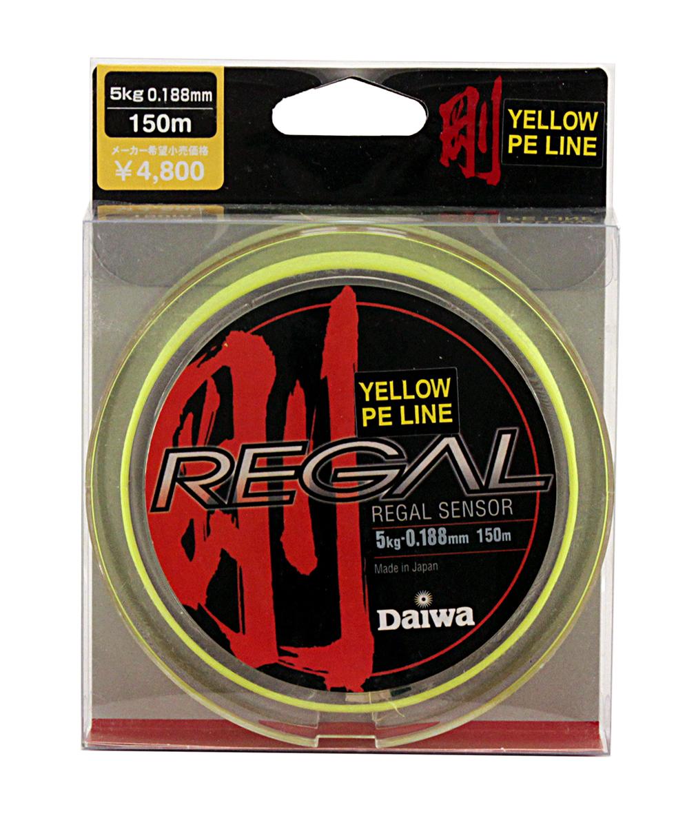 Леска плетеная Daiwa Regal Sensor - Y, 0,188 мм, цвет: желтый, 150 м0023037Материал Super PEВыполнена в черном цветеМенее эластичная для достижения большейчувствительностиБез памятиСпособность выдерживать большие разрывные нагрузки позволяет выбирать более тонкий диаметр лески, что увеличивает чувствительность и дальность забросаМодельный ряд пополнился желтой и зеленойрасцветкой.
