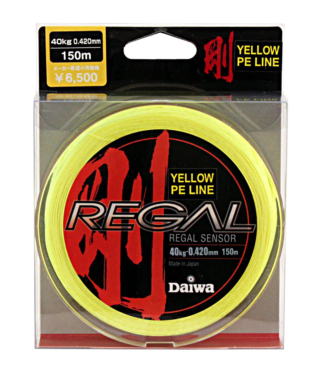 Леска плетеная Daiwa Regal Sensor, цвет: желтый, 0,42 мм, 150 м0028268Леска плетеная Daiwa Regal Sensor выполнена из материала Super PE. Она менее эластичная для достижения большейчувствительности. Способность выдерживать большие разрывные нагрузки позволяет выбирать более тонкий диаметр лески, что увеличивает чувствительность и дальность заброса.