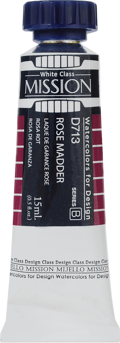 Mijello Акварель Mission White D713 Розовая марена 15 млMWC-D713Серия акварельных красок Корейского производителя Mijello - Mission White состоит из 51 цвета. Эта серия акварели была создана компанией Mijello в сотрудничестве с экспертами в области акварельной живописи. В этой серии есть два специальных плотных цвета в больших тубах - белый и черный.Смешав акварель с этими цветами, вы получите плотный матовый слой и сможете работать в постерных техниках. Цвета акварели серии Mission White - это смеси высококачественных пигментов тонкого помола с высококачественными компонентами и гуммиарабиком.Используйте краски Mijello серии Mission Gold для акварельной живописи по мокрому, они идеально подойдут для подобной техники работы с акварелью. Акварель Mijello Mission White будет отличным выбором, как начинающему художнику, так и профессионалу.