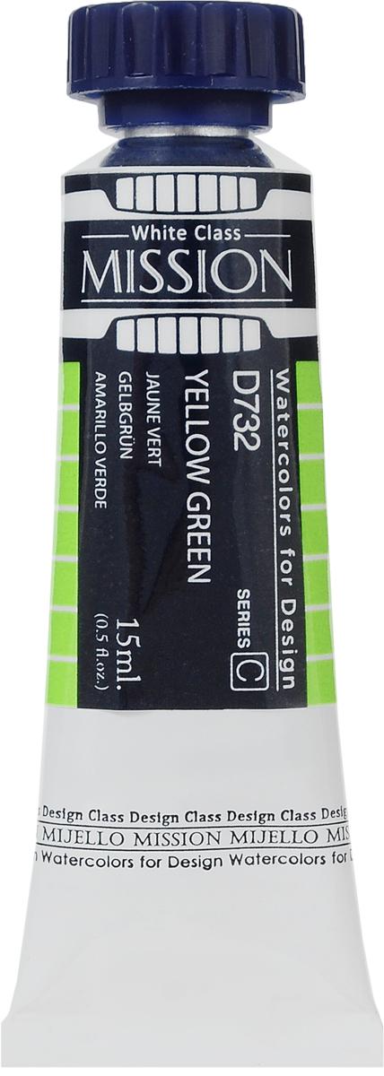 Mijello Акварель Mission White D732 Желто-зеленый 15 млMWC-D732Серия акварельных красок Корейского производителя Mijello - Mission White состоит из 51 цвета. Эта серия акварели была создана компанией Mijello в сотрудничестве с экспертами в области акварельной живописи. В этой серии имеются 2 специальных плотных цвета в больших тубах - белый и черный. Смешав акварель с этими цветами, вы получите плотный матовый слой и сможете работать в постерных техниках.Цвета акварели серии Mission White - это смеси высококачественных пигментов тонкого помола с высококачественными компонентами и гуммиарабиком. Эти краски предлагаются в традиционной для Корейских производителей тубах по 15 мл. Используйте краски Mijello серии Mission Gold для акварельной живописи по мокрому, они идеально подойдут для подобной техники работы с акварелью.Акварель Mijello Mission White будет отличным выбором, как начинающему художнику, так и профессионалу.