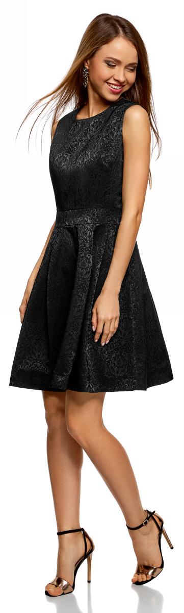 Платье oodji Ultra, цвет: черный. 12C02004/38560/2900J. Размер 42-170 (48-170)12C02004/38560/2900JЖаккардовое платье от oodji выполнено из высококачественного материала. Модель без рукавов и с круглым вырезом горловины на спинке застегивается на потайную молнию.
