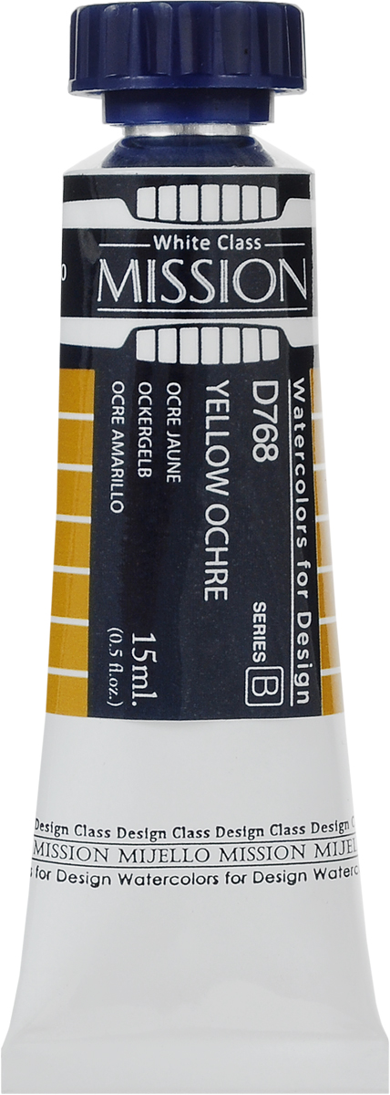 Mijello Акварель Mission White D768 Охра желтая 15 млMWC-D768Серия акварельных красок Корейского производителя Mijello - Mission White состоит из 51 цвета. Эта серия акварели была создана компанией Mijello в сотрудничестве с экспертами в области акварельной живописи. В этой серии есть два специальных плотных цвета в больших тубах - белый и черный.Смешав акварель с этими цветами, вы получите плотный матовый слой и сможете работать в постерных техниках. Цвета акварели серии Mission White - это смеси высококачественных пигментов тонкого помола с высококачественными компонентами и гуммиарабиком.Используйте краски Mijello серии Mission Gold для акварельной живописи по мокрому, они идеально подойдут для подобной техники работы с акварелью. Акварель Mijello Mission White будет отличным выбором, как начинающему художнику, так и профессионалу.