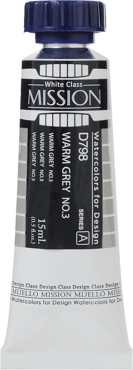 Mijello Акварель Mission White D798 Серый теплый №3 15 млMWC-D798Серия акварельных красок Корейского производителя Mijello - Mission White состоит из 51 цвета. Эта серия акварели была создана компанией Mijello в сотрудничестве с экспертами в области акварельной живописи. В этой серии есть два специальных плотных цвета в больших тубах - белый и черный. Смешав акварель с этими цветами, вы получите плотный матовый слой и сможете работать в постерных техниках. Цвета акварели серии Mission White - это смеси высококачественных пигментов тонкого помола с высококачественными компонентами и гуммиарабиком. Используйте краски Mijello серии Mission Gold для акварельной живописи по мокрому, они идеально подойдут для подобной техники работы с акварелью. Акварель Mijello Mission White будет отличным выбором, как начинающему художнику, так и профессионалу.