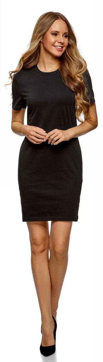 Платье oodji Ultra, цвет: черный. 14001194B/46154/2900N. Размер M (46)14001194B/46154/2900NПлатье от oodji выполнено из натурального хлопкового трикотажа. Модель прямого кроя с короткими рукавами и круглым вырезом горловины.