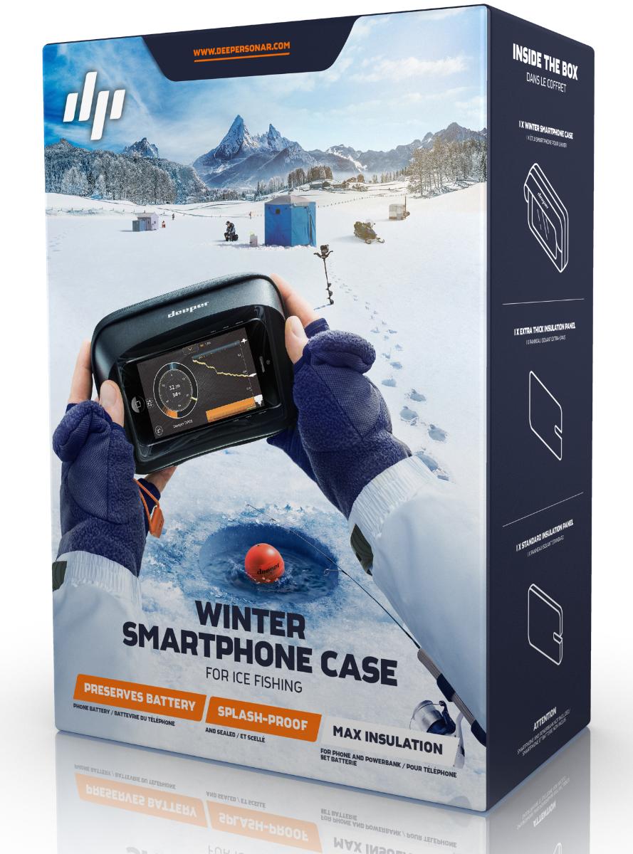 Зимний чехол для смартфона - Deeper Winter Smartphone Case, цвет: черныйITGAM0008Зимний чехол для смартфона компании Deeper для подлёдной рыбалки является единственным чехлом, специально разработанным для подлёдной рыбалки в холодное время года.Чехол вмещает в себя дополнительную зарядную батарею, а также обеспечивает полную изоляцию вашего смартфона. Это означает, что батарея вашего телефона сохраняет свои свойства во время вашего пребывания на льду.Антибликовое защитное стекло обеспечивает хорошую видимость экрана и полностью сохраняет работоспособность сенсора. Чехол герметичен и имеет защиту от попадания влаги, поэтому все элементы телефона полностью защищены.Сохраняет батарею телефона: • За счёт уменьшения теплообмена с помощью комплексной изоляции, чехол защищает батарею вашего телефона в условиях отрицательной температуры. Защищает ваш телефон:• Защита от брызг сохраняет ваш телефон в сухом состоянии всё время.• Полная герметичность предотвращает попадание грязи или льда внутрь чехла.• Аварийное всплывание. Предназначено для обеспечения плавучести вашего телефона в случае падения в воду. Примечание: не разработан для использования в воде или погружения. Свойства плавучести будут зависеть от массы телефона и наличия дополнительного зарядного устройства. Полная эргономичность телефона и видимость экрана:• Полная работоспособность сенсора означает, что вы можете без затруднений использовать ваш телефон в чехле.• Антибликовое защитное стекло обеспечивает хорошую видимость экрана в солнечную погоду.• Зимний чехол сохраняет удобство пользования телефоном во время его дозарядки.Тестирование показало, что изоляционная система сохраняет работоспособность смартфона Iphone 6s до 3-х часов. Без использования зимнего чехла время работы устройства снижается до 21-ой минуты.Совместимость (размер телефона/модель): до 130x80 мм/Iphone 5S.
