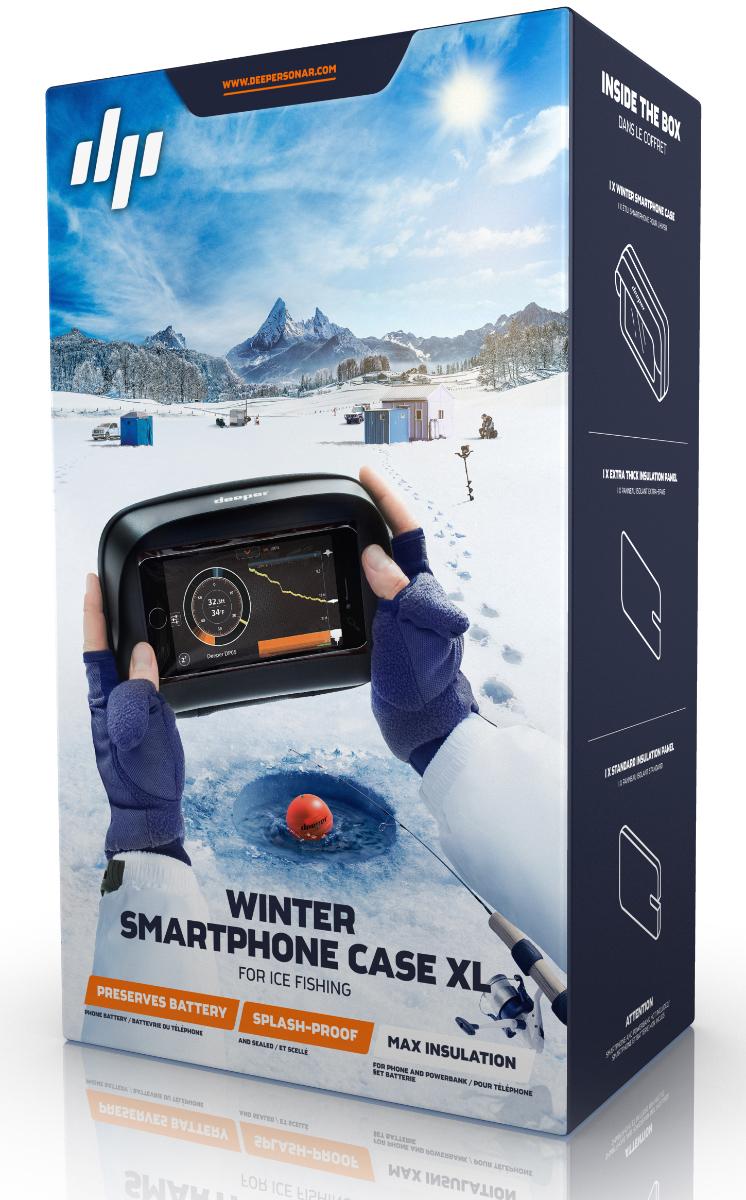 Зимний чехол для смартфона - Deeper Winter Smartphone Case, цвет: черный, размер XLITGAM0009Зимний чехол для смартфона компании Deeper для подлёдной рыбалки является единственным чехлом, специально разработанным для подлёдной рыбалки в холодное время года.Чехол вмещает в себя дополнительную зарядную батарею, а также обеспечивает полную изоляцию вашего смартфона. Это означает, что батарея вашего телефона сохраняет свои свойства во время вашего пребывания на льду.Антибликовое защитное стекло обеспечивает хорошую видимость экрана и полностью сохраняет работоспособность сенсора. Чехол герметичен и имеет защиту от попадания влаги, поэтому все элементы телефона полностью защищены.Сохраняет батарею телефона: • За счёт уменьшения теплообмена с помощью комплексной изоляции, чехол защищает батарею вашего телефона в условиях отрицательной температуры. Защищает ваш телефон:• Защита от брызг сохраняет ваш телефон в сухом состоянии всё время.• Полная герметичность предотвращает попадание грязи или льда внутрь чехла.• Аварийное всплывание. Предназначено для обеспечения плавучести вашего телефона в случае падения в воду. Примечание: не разработан для использования в воде или погружения. Свойства плавучести будут зависеть от массы телефона и наличия дополнительного зарядного устройства. Полная эргономичность телефона и видимость экрана:• Полная работоспособность сенсора означает, что вы можете без затруднений использовать ваш телефон в чехле.• Антибликовое защитное стекло обеспечивает хорошую видимость экрана в солнечную погоду.• Зимний чехол сохраняет удобство пользования телефоном во время его дозарядки.Тестирование показало, что изоляционная система сохраняет работоспособность смартфона Iphone 6s до 3-х часов. Без использования зимнего чехла время работы устройства снижается до 21-ой минуты.Совместимость (размер телефона/модель): до 159x80 мм/Iphone 7S.